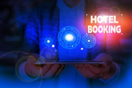 Handwriting text writing Hotel Booking. Conceptual photo Online Reservations Presidential Suite De Luxe Hospitality Woman wear formal work suit presenting presentation using smart device