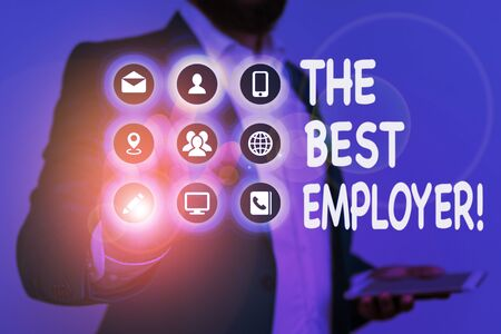 Writing note showing The Best Employer. Business concept for created workplace showing feel heard and empowered Zdjęcie Seryjne