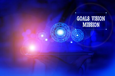 Text sign showing Goals Vision Mission. Business photo text practical planning process used to help community group Woman wear formal work suit presenting presentation using smart device