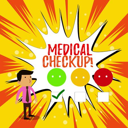 Writing note showing Medical Checkup. Business concept for thorough physical examination includes variety of tests White Questionnaire Survey Choice Satisfaction Green Tick