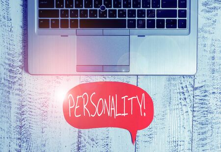 Writing note showing Personality. Business concept for combination characteristics that form individuals character Close view open laptop speech bubble downwards lying vintage table 스톡 콘텐츠
