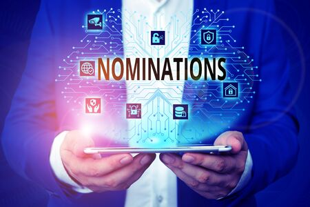 Handwriting text writing Nominations. Conceptual photo the act of officially suggesting someone for a job or position Male human wear formal work suit presenting presentation using smart device