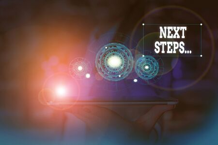Text sign showing Next Steps. Business photo text something you do or plan after you ve finished something else Woman wear formal work suit presenting presentation using smart device