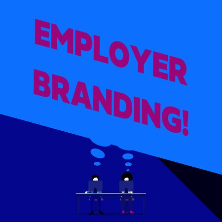 Word writing text Employer Branding. Business photo showcasing promoting company employer choice to desired target group Two men sitting behind desk each one laptop sharing blank thought bubble Stok Fotoğraf