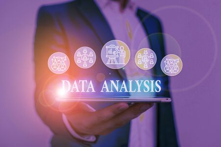 Text sign showing Data Analysis. Business photo showcasing Translate numbers to Analytical Conclusion Forecasting Male human wear formal work suit presenting presentation using smart device