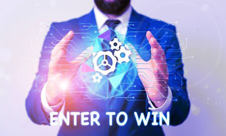 Text sign showing Enter To Win. Business photo text exchanging something value for prize or chance of winning Male human wear formal work suit presenting presentation using smart device
