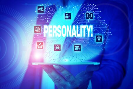 Text sign showing Personality. Business photo text combination characteristics that form individuals character Male human wear formal work suit presenting presentation using smart device 스톡 콘텐츠