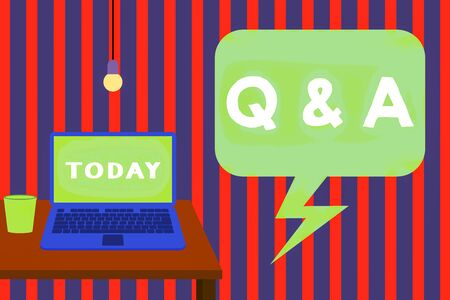 Word writing text Q And A Question. Business photo showcasing in which demonstrating asks questions and another one answers them Front view open laptop lying on wooden desktop light bulb falling glass