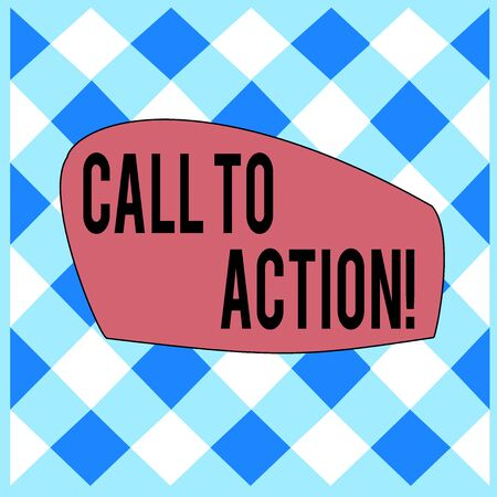 Conceptual hand writing showing Call To Action. Concept meaning exhortation do something in order achieve aim with problem White and Blue Grid Cell in Straight Line Intertwined Pattern