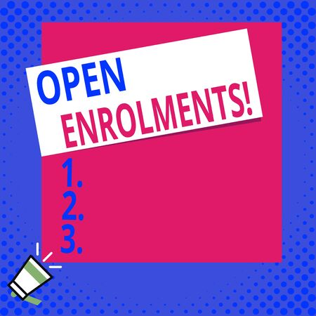 Writing note showing Open Enrolments. Business concept for when employees may make changes to elected fringe benefit Big blank square rectangle stick above small megaphone left down corner