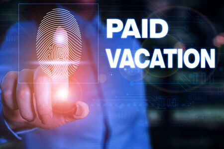 Handwriting text writing Paid Vacation. Conceptual photo Sabbatical Weekend Off Holiday Time Off Benefits Woman wear formal work suit presenting presentation using smart device