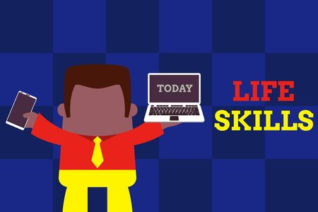 Text sign showing Life Skills. Business photo text skill that is necessary for full participation in everyday life Standing professional man tie holding left open laptop right mobile phone