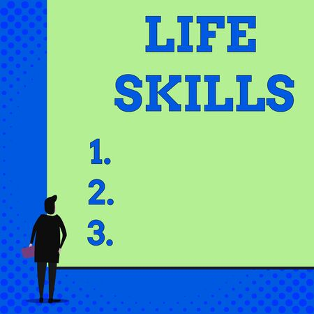 Conceptual hand writing showing Life Skills. Concept meaning skill that is necessary for full participation in everyday life Woman watching blank big rectangle. Geometrical background
