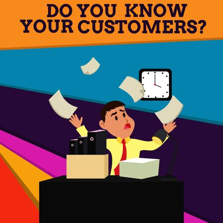 Handwriting text Do You Know Your Customers question. Conceptual photo asking to identify a customer s is nature Confused Male Employee Manager Cluttered Workspace Overflow Time Shortage Stok Fotoğraf