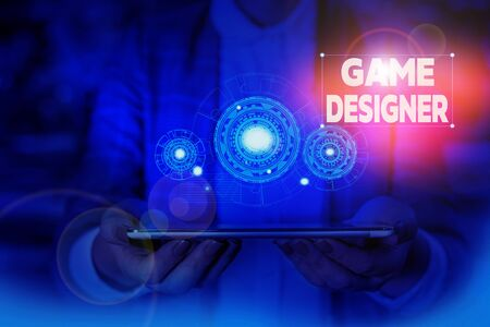 Handwriting text writing Game Designer. Conceptual photo Campaigner Pixel Scripting Programmers Consoles 3D Graphics Woman wear formal work suit presenting presentation using smart device