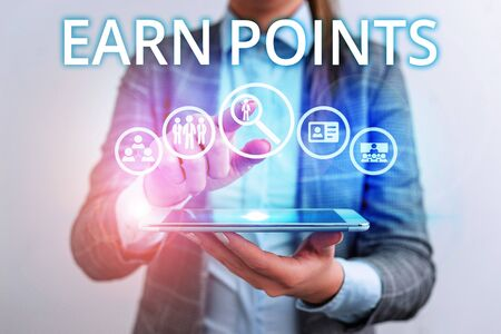 Conceptual hand writing showing Earn Points. Concept meaning getting praise or approval for something you have done Lady front presenting hand blue glow futuristic modern technology