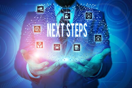 Writing note showing Next Steps. Business concept for something you do or plan after you ve finished something else Male wear formal work suit presenting presentation smart device Stok Fotoğraf