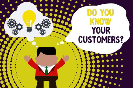 Conceptual hand writing showing Do You Know Your Customers question. Concept meaning asking to identify a customer s is nature Man hands up imaginary bubble light bulb working together Stok Fotoğraf