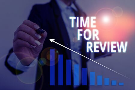 Text sign showing Time For Review. Business photo text review of a system or situation in its formal examination Woman wear formal work suit presenting presentation using smart device