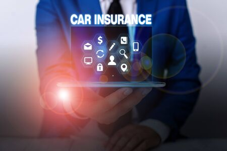 Text sign showing Car Insurance. Business photo showcasing Accidents coverage Comprehensive Policy Motor Vehicle Guaranty