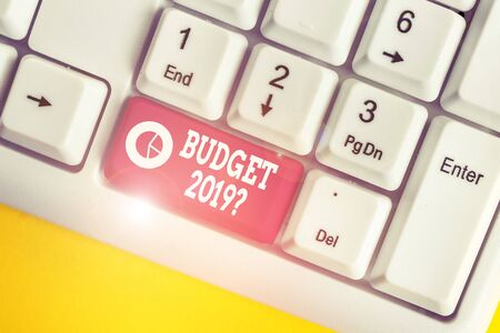 Word writing text Budget 2019 Question. Business photo showcasing estimate of income and expenditure for next year White pc keyboard with empty note paper above white background key copy space