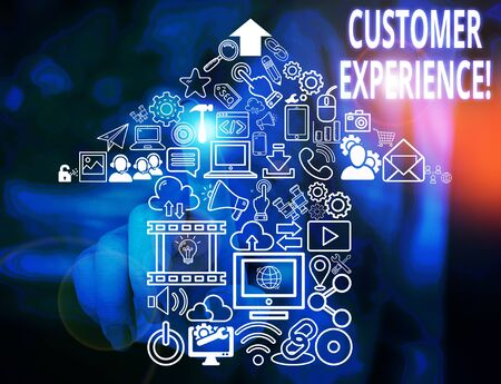 Conceptual hand writing showing Customer Experience. Concept meaning product of interaction between organization and buyer Woman wear work suit presenting presentation smart device