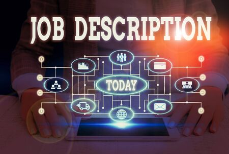 Writing note showing Job Description. Business concept for a formal account of an employee s is responsibilities Woman wear formal work suit presenting presentation using smart device Stock Photo