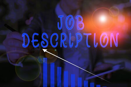 Word writing text Job Description. Business photo showcasing a formal account of an employee s is responsibilities Woman wear formal work suit presenting presentation using smart device Stock Photo