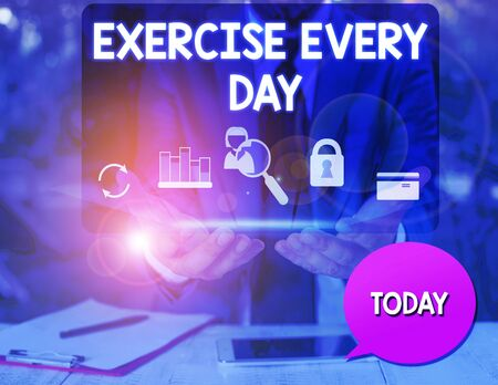 Text sign showing Exercise Every Day. Business photo text move body energetically in order to get fit and healthy man icons smartphone speech bubble office supplies technological device