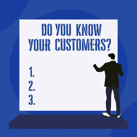 Text sign showing Do You Know Your Customers question. Business photo text asking to identify a customer s is nature Back view young man dressed suit standing platform facing blank rectangle