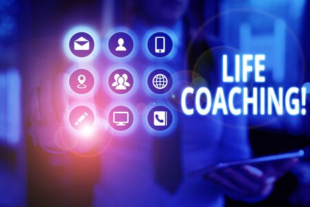 Text sign showing Life Coaching. Business photo text demonstrating employed to help showing attain their goals in career