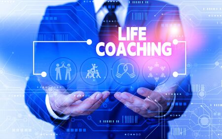 Word writing text Life Coaching. Business photo showcasing Improve Lives by Challenges Encourages us in our Careers Male human wear formal work suit presenting presentation using smart device 版權商用圖片