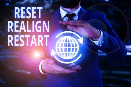 Writing note showing Reset Realign Restart. Business concept for Life audit will help you put things in perspectives Фото со стока