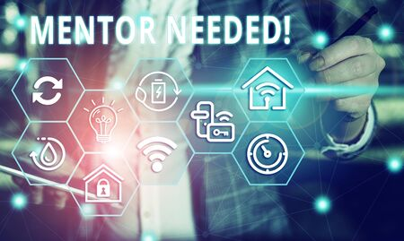 Word writing text Mentor Needed. Business photo showcasing Employee training under senior assigned act as advisor Female human wear formal work suit presenting presentation use smart device