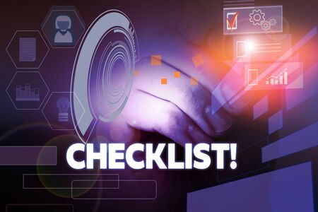 Text sign showing Checklist. Business photo showcasing list items required things be done or points considered Male human wear formal work suit presenting presentation using smart device