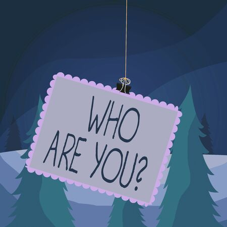 Word writing text Who Are You Question. Business photo showcasing asking about its identity or demonstratingal information Stamp stuck binder clip paper clips square color frame rounded tip sticker Stok Fotoğraf