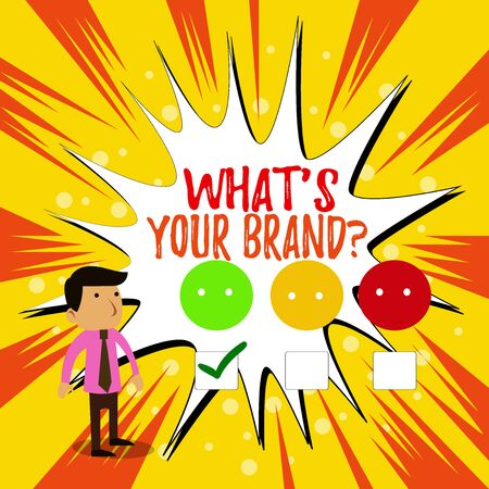 Writing note showing What S Your Brand Question. Business concept for asking about product logo does or what you communicate White Questionnaire Survey Choice Satisfaction Green Tick