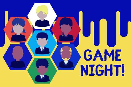Text sign showing Game Night. Business photo showcasing usually its called on adult play dates like poker with friends Pictures frames chief executive and staff. Organization employees structure