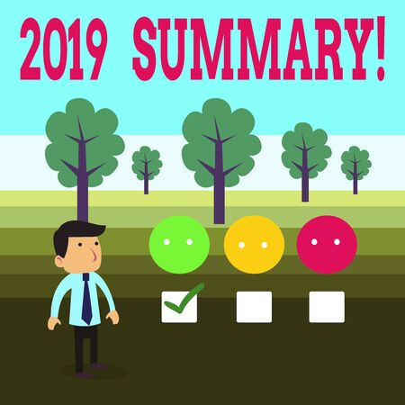 Word writing text 2019 Summary. Business photo showcasing summarizing past year events main actions or good shows White Male Questionnaire Survey Choice Checklist Satisfaction Green Tick