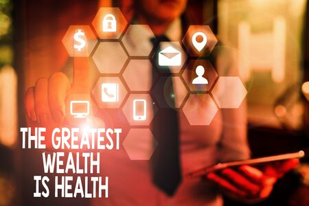 Word writing text The Greatest Wealth Is Health. Business photo showcasing Many sacrifice their money just to be healthy Фото со стока
