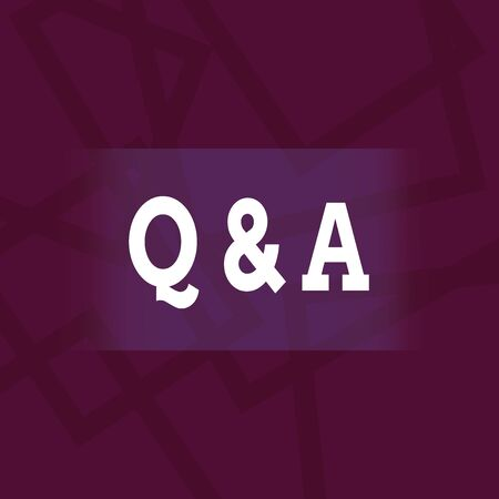 Conceptual hand writing showing Q And A Question. Concept meaning in which demonstrating asks questions and another one answers them Geometric Outlined Shape in Violet Monochrome Abstract Pattern