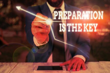 Text sign showing Preparation Is The Key. Business photo showcasing it reduces errors and shortens the activities