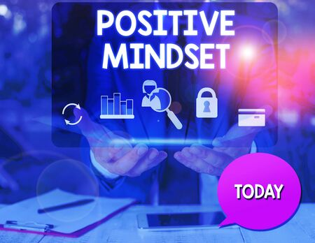 Text sign showing Positive Mindset. Business photo text mental attitude in wich you expect favorable results man icons smartphone speech bubble office supplies technological device