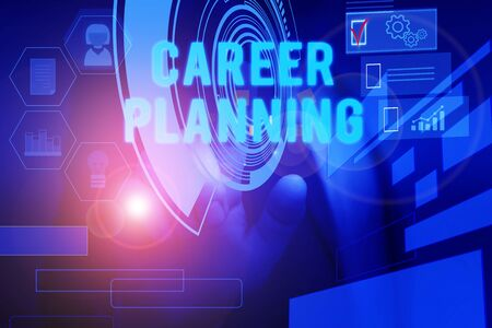 Text sign showing Career Planning. Business photo text Strategically plan your career goals and work success Male human wear formal work suit presenting presentation using smart device Banco de Imagens