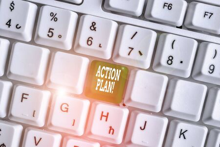 Handwriting text writing Action Plan. Conceptual photo proposed strategy or course of actions for certain time White pc keyboard with empty note paper above white background key copy space