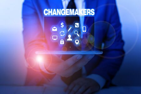 Text sign showing Changemakers. Business photo showcasing Young Turk Influencers Acitivists Urbanization Fashion Gen X