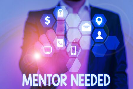 Word writing text Mentor Needed. Business photo showcasing wanted help for more experienced or more knowledgeable demonstrating