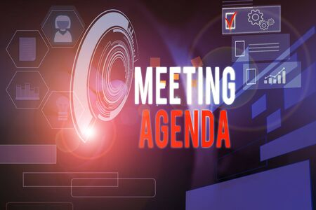 Word writing text Meeting Agenda. Business photo showcasing items that participants hope to accomplish at a meeting Male human wear formal work suit presenting presentation using smart device