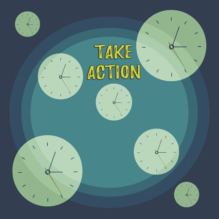 Conceptual hand writing showing Take Action. Concept meaning to do somethingoract in order to get a particular result Different Size Clock Dials against Concentric Circle Banco de Imagens