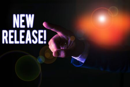 Word writing text New Release. Business photo showcasing announcing something newsworthy recent product Isolated hand pointing with finger. Business concept pointing finger